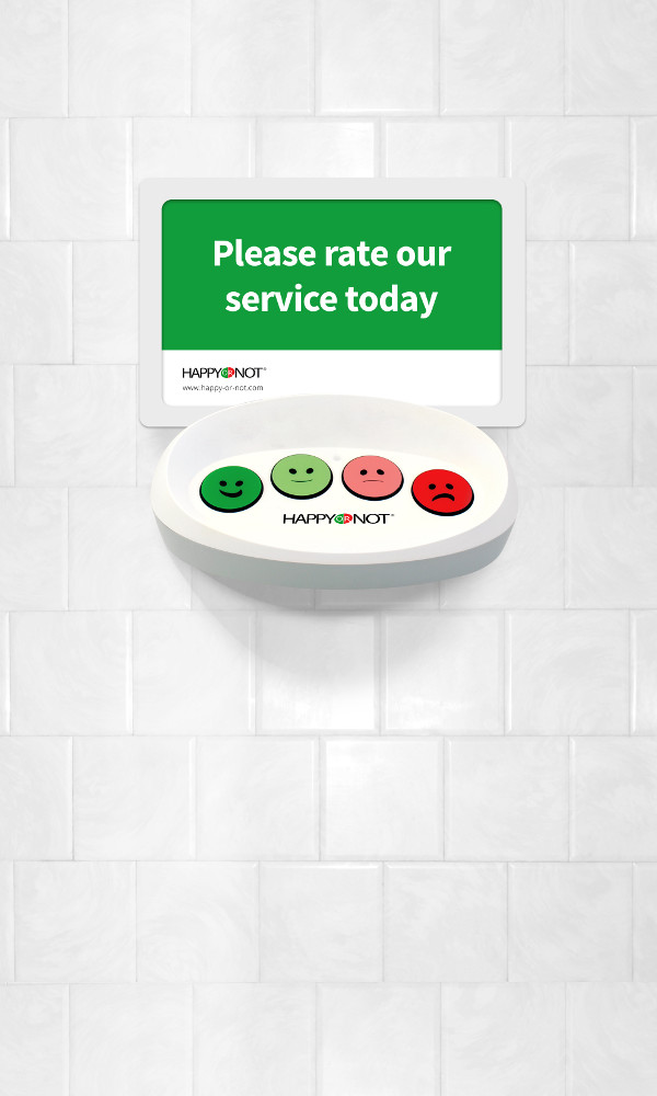 Happy Or Not HappyOrNot Smiley Terminal Wand Wall Model Please rate our service today Buttons Buzzer Toilette Flughafen Hygienisch