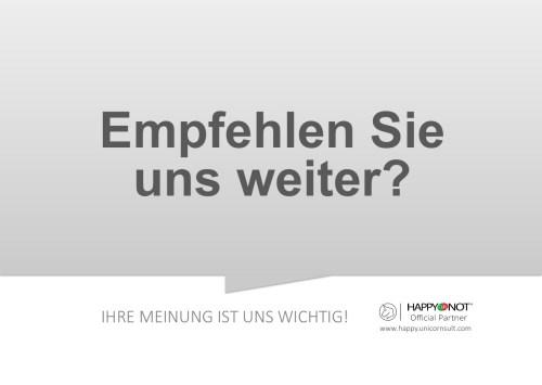Empfehlen Sie uns weiter Happy Or Not HappyOrNot Smiley Terminal Question Sheet Frageblatt