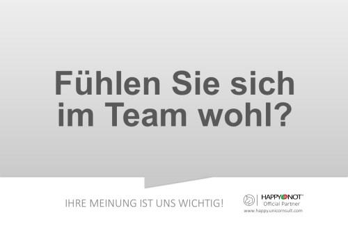 Fuehlen Sie sich im Team wohl Happy Or Not HappyOrNot Smiley Terminal Question Sheet Frageblatt