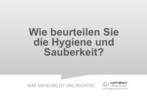 Wie beurteilen Sie die Hygiene und Sauberkeit Happy Or Not HappyOrNot Smiley Terminal Question Sheet Frageblatt