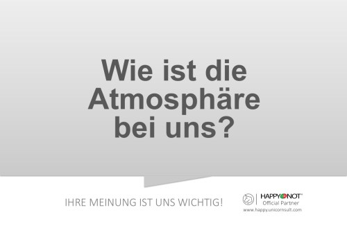 Wie ist die Atmosphaere bei uns Happy Or Not HappyOrNot Smiley Terminal Question Sheet Frageblatt