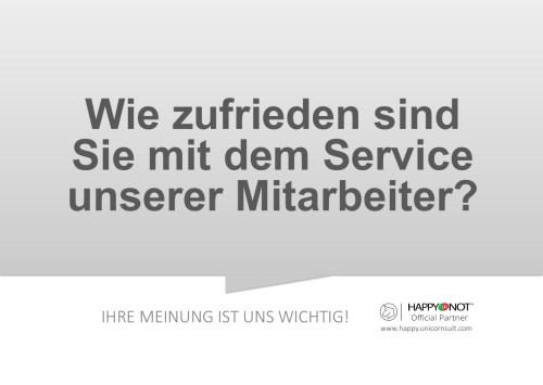Wie zufrieden sind Sie mit dem Service unserer Mitarbeiter Happy Or Not HappyOrNot Smiley Terminal Question Sheet Frageblatt