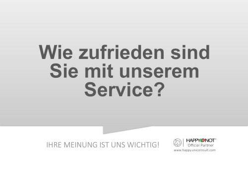 Wie zufrieden sind Sie mit unserem Service Happy Or Not HappyOrNot Smiley Terminal Question Sheet Frageblatt