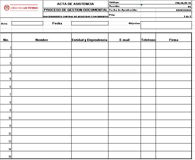 Listado De Asistencia V1 Unidad Para Las Vctimas