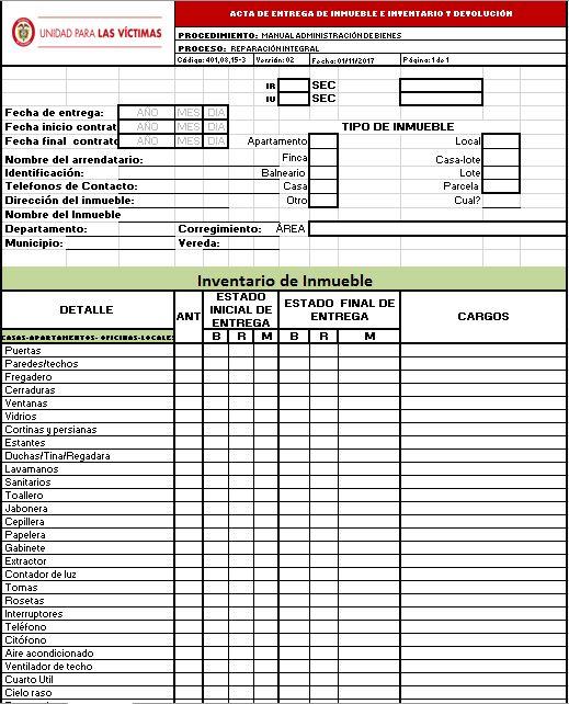 Formato Acta de Entrega de Inmueble e Inventario y