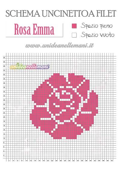 Schemi Fiori Uncinetto a Filet la rosa Emma