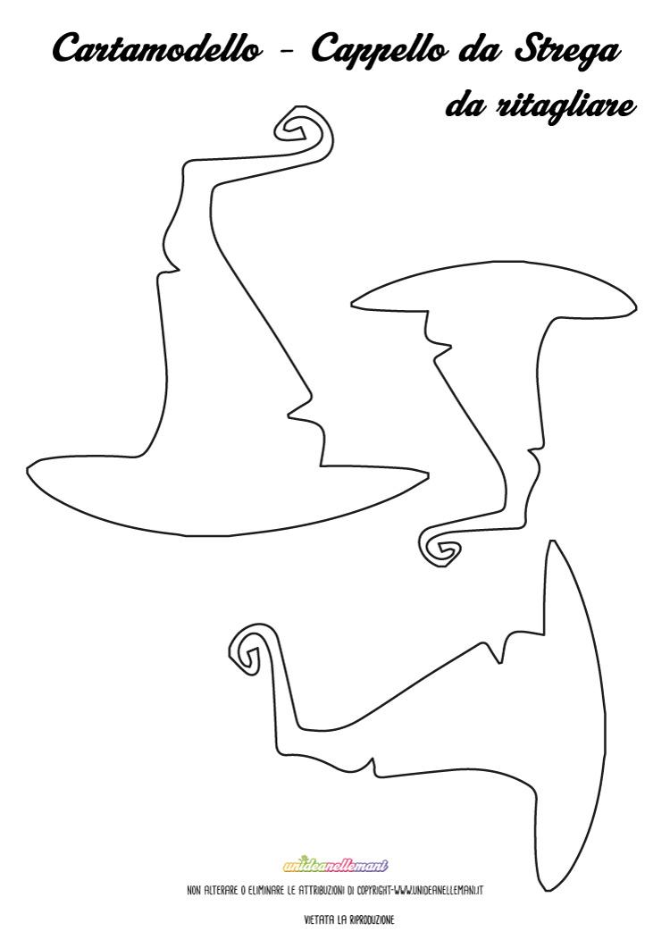 Sagome Cappelli da Strega da stampare, ritagliare e colorare