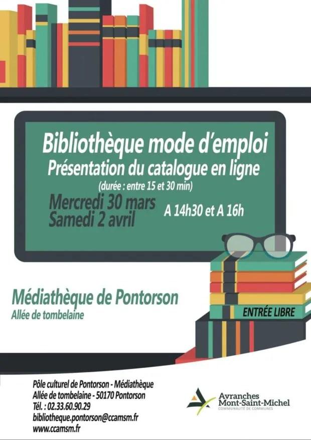 Bibliothèque mode d'emploi, présentation du catalogue en ligne Pontorson