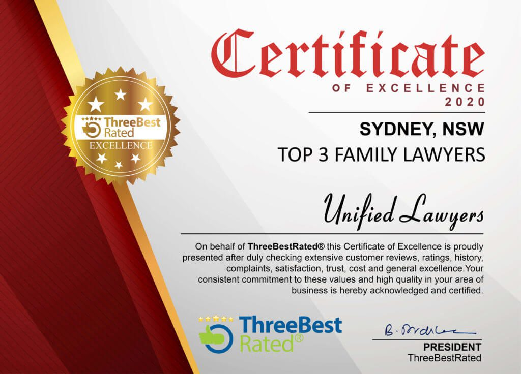 Certificate of Excellence - 2020 Family Lawyers Sydney by Three Best Rated