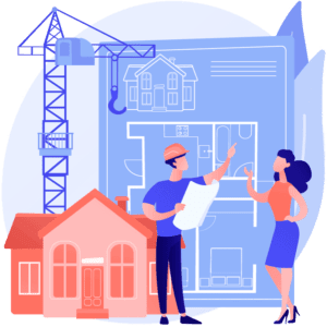 Graphic of male construction worker discussing development applications in NSW with female client