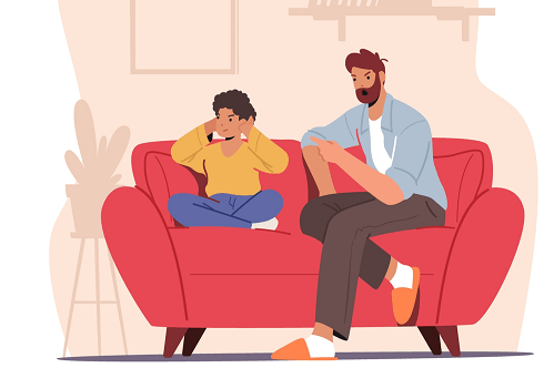 graphic of unhappy father and son on couch
