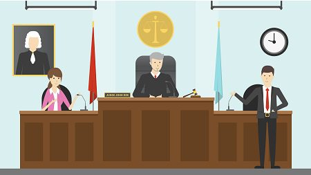cartoon graphic of family court proceedings taking place