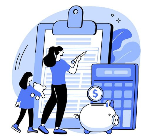 cartoon of mother filling it form for child support in Australia