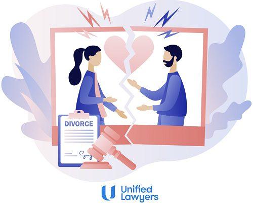 cartoon image of couple going through divorce process heart breaking