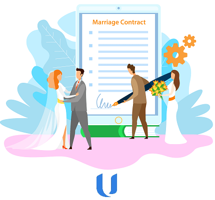 cartoon of a married couple signing a marriage contract