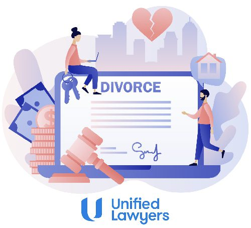 cartoon of divorce and couple on laptop