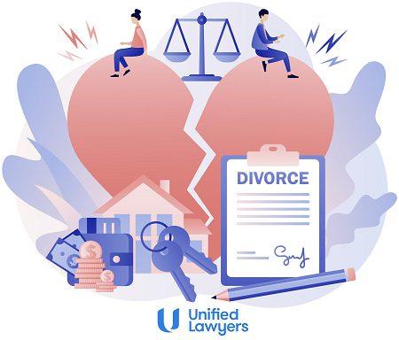 cartoon of divorce with couple sitting on broken heart