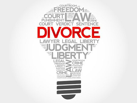 image of lightbulb with word divorce in the middle
