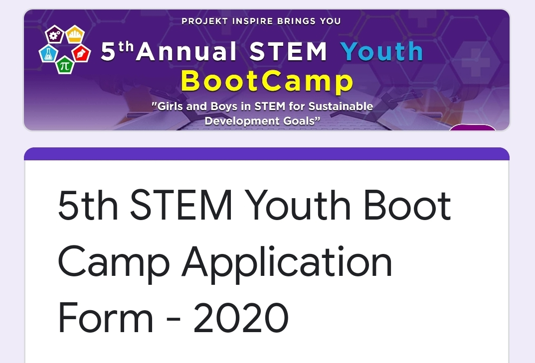 The 5th STEM Youth Boot Camp Application Is Now Open!!!!!!!