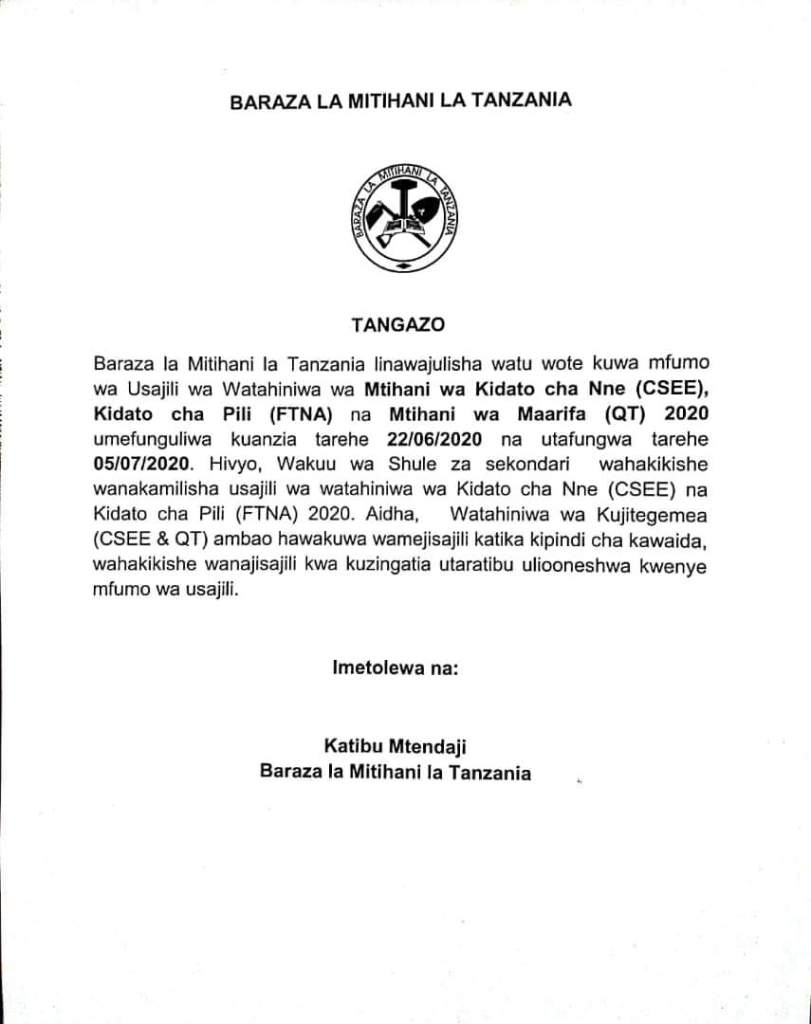 NECTA Candidates Registration