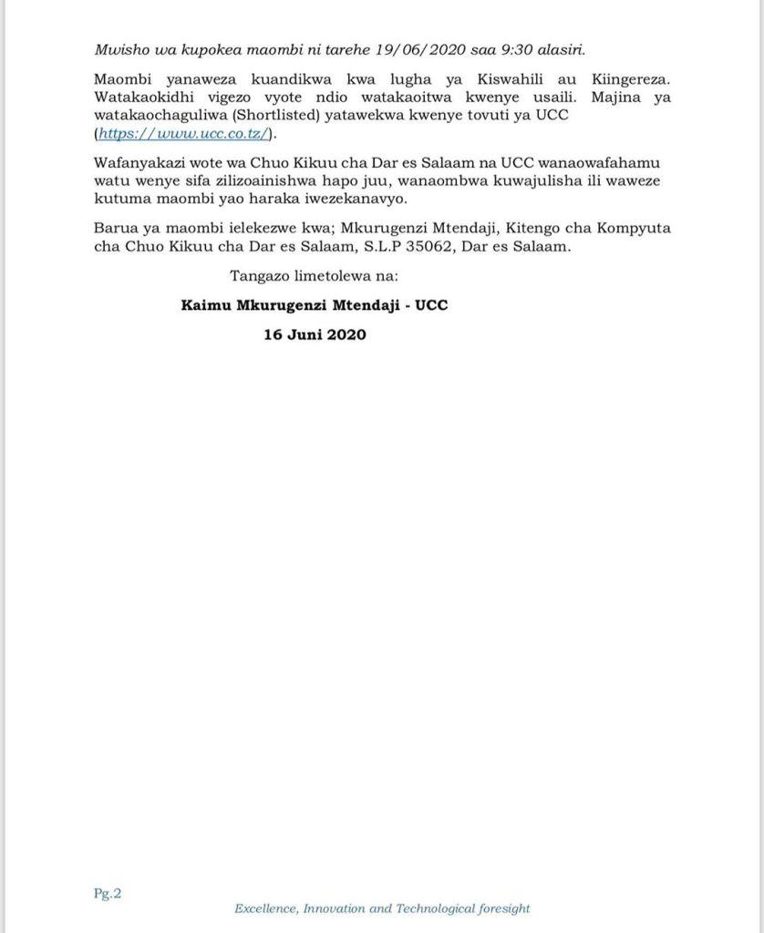 Temporary Jobs Opportunities At UDSM  June 2020