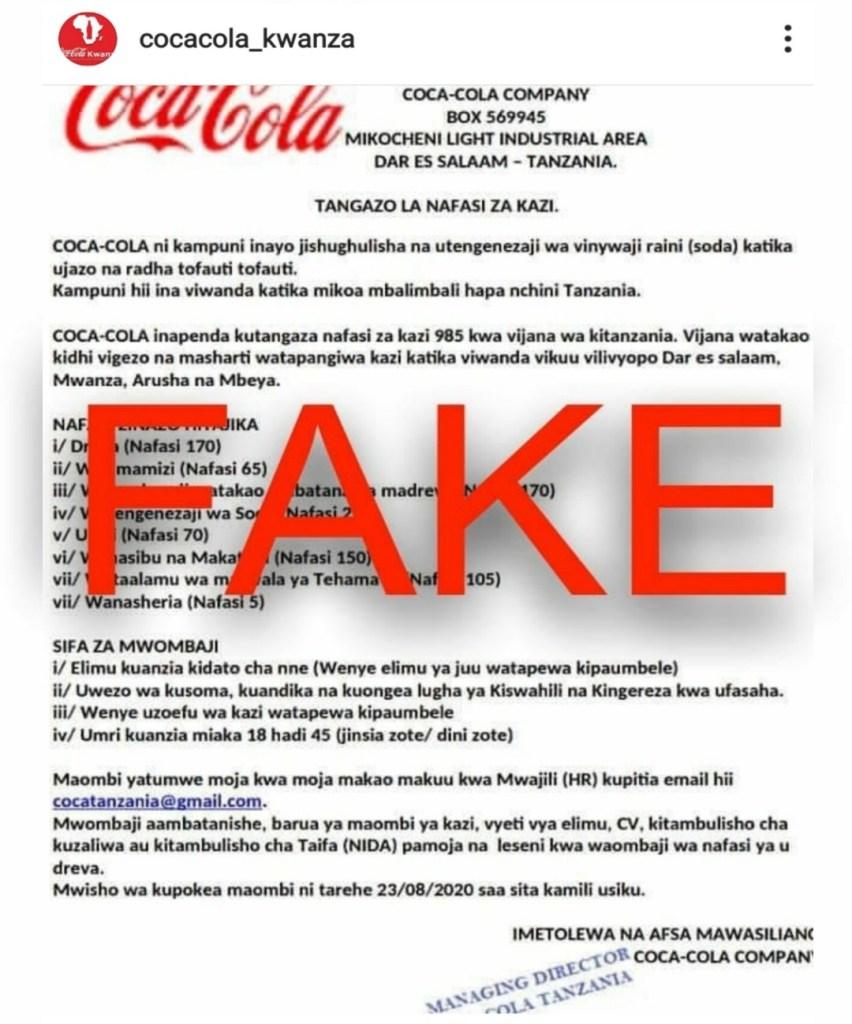 Coca Cola Tanzania Notice On Fake Jobs