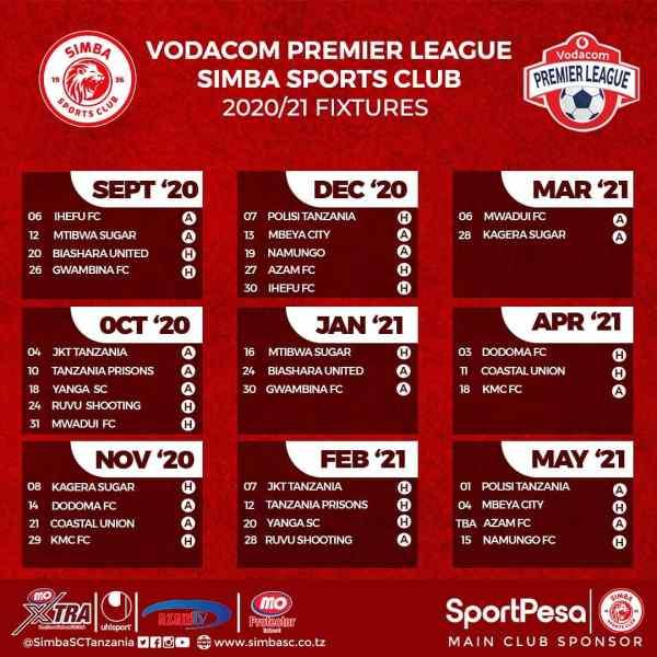 Mechi Za Simba 2020/2021 Vodacom Premier League