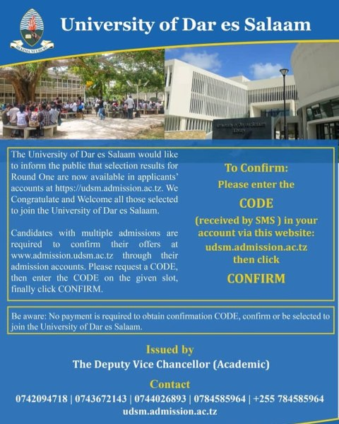 How To Confirm UDSM For Selected Applicants 2020/21