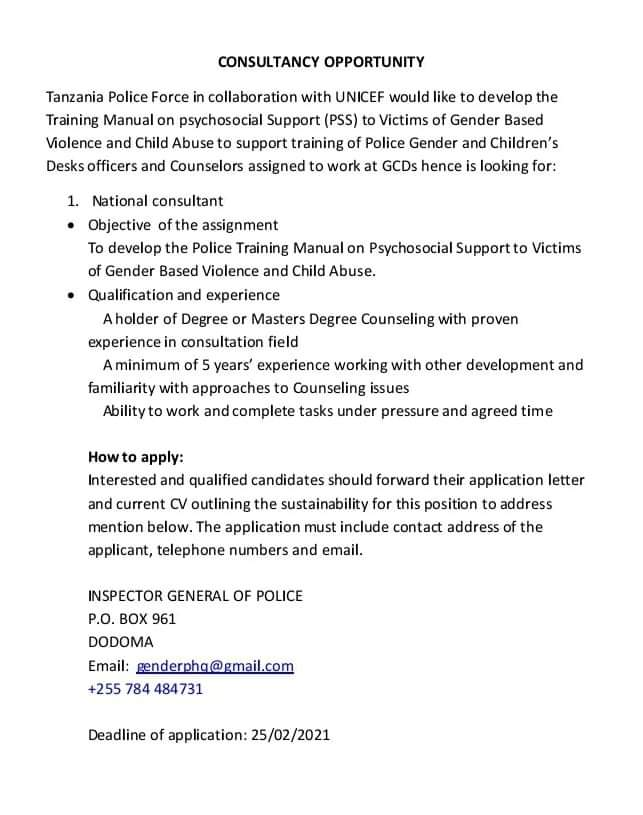 FB IMG 1613742519881 Job Opportunity At Tanzania Police Force , Consultancy