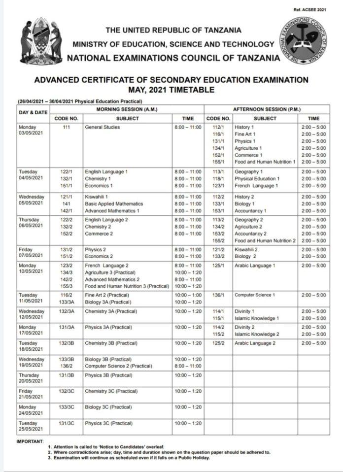 NECTA Form Six Timetable 2021( Ratiba Ya Kidato Cha Sita 2021/2022)