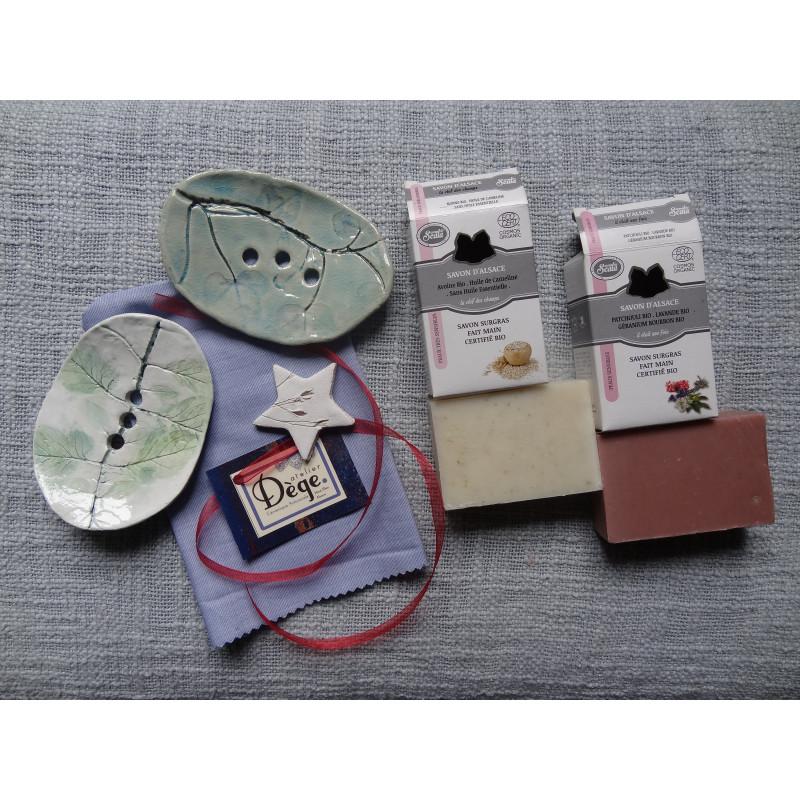 Coffret Cadeau Porte Savon Ceramique Et Savon Surgras Bio