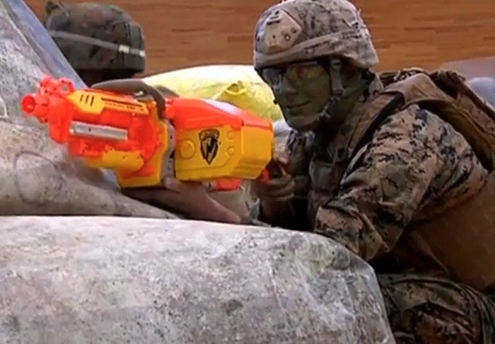 US Marines Take On Kids In Epic Nerf Battle