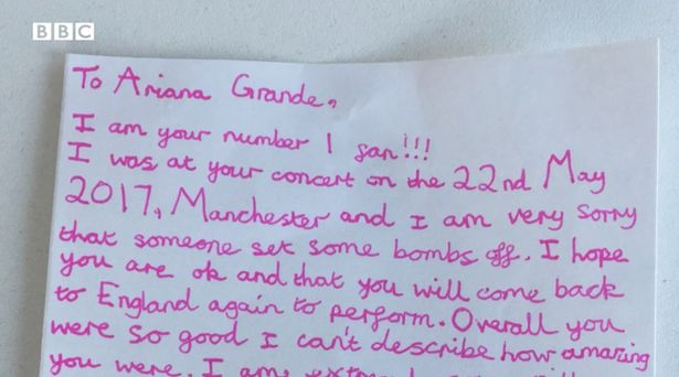 Ten Year Old Girl Caught In Manchester Blast Writes Amazing Letter To Ariana Granda bbc 1