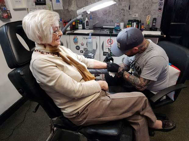 82 Year Old Woman Gets First Tattoo In Memory Of Late Husband %name