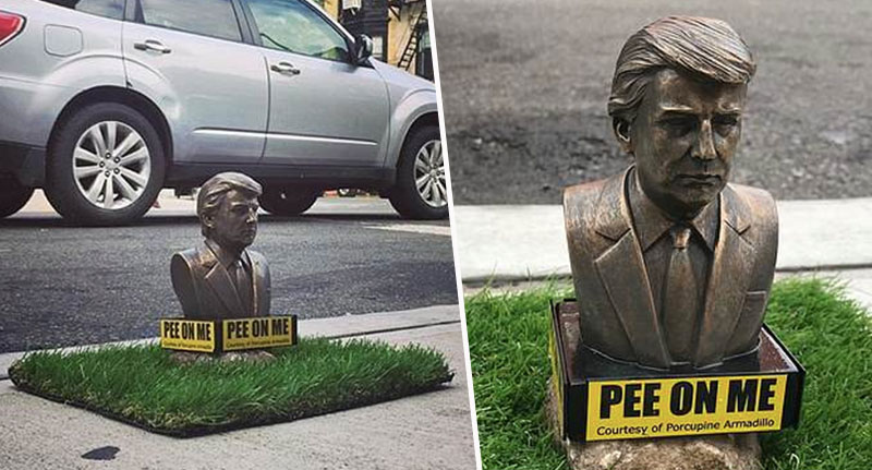 Tiny Trump Statues Inviting Dogs To Wee On Them Appear