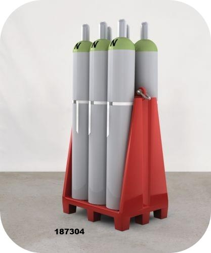 Gas cylinder pallet for six cylinders