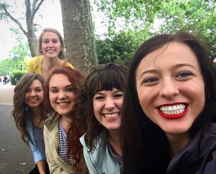 Meghan, Faith, Rachel, Kaylee, Brittany at the London Zoo