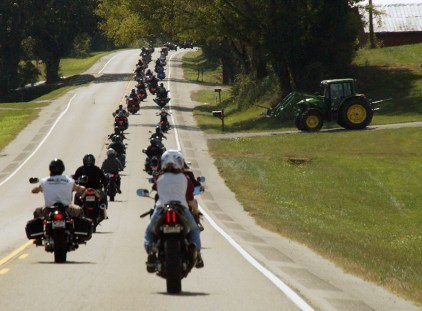 John Deere Watches the Bikes Pass Through Grainger County