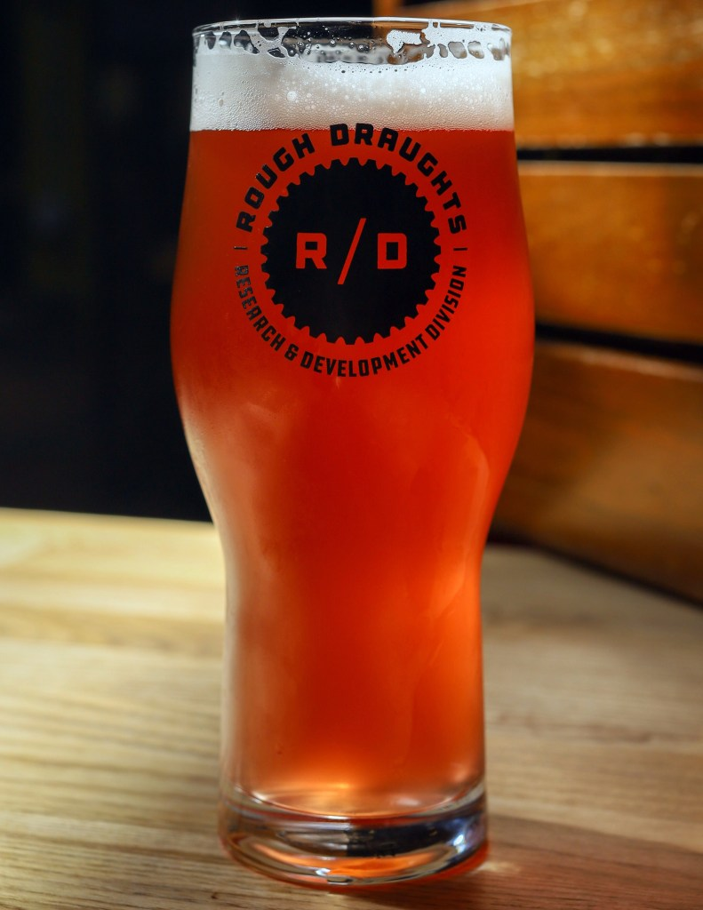 Cranberry Gose beer. Red in color