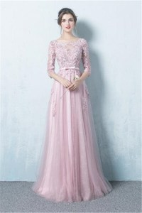 A Line Boat Neck Long Dusty Pink Tulle Lace Prom Dress ...