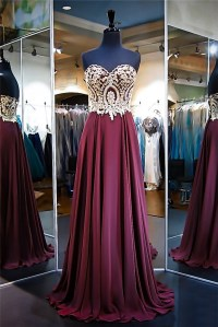 A Line Strapless Long Burgundy Chiffon Gold Lace Prom Dress