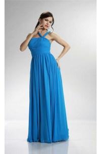 Asymmetrical Strap Long Ocean Blue Chiffon Ruched