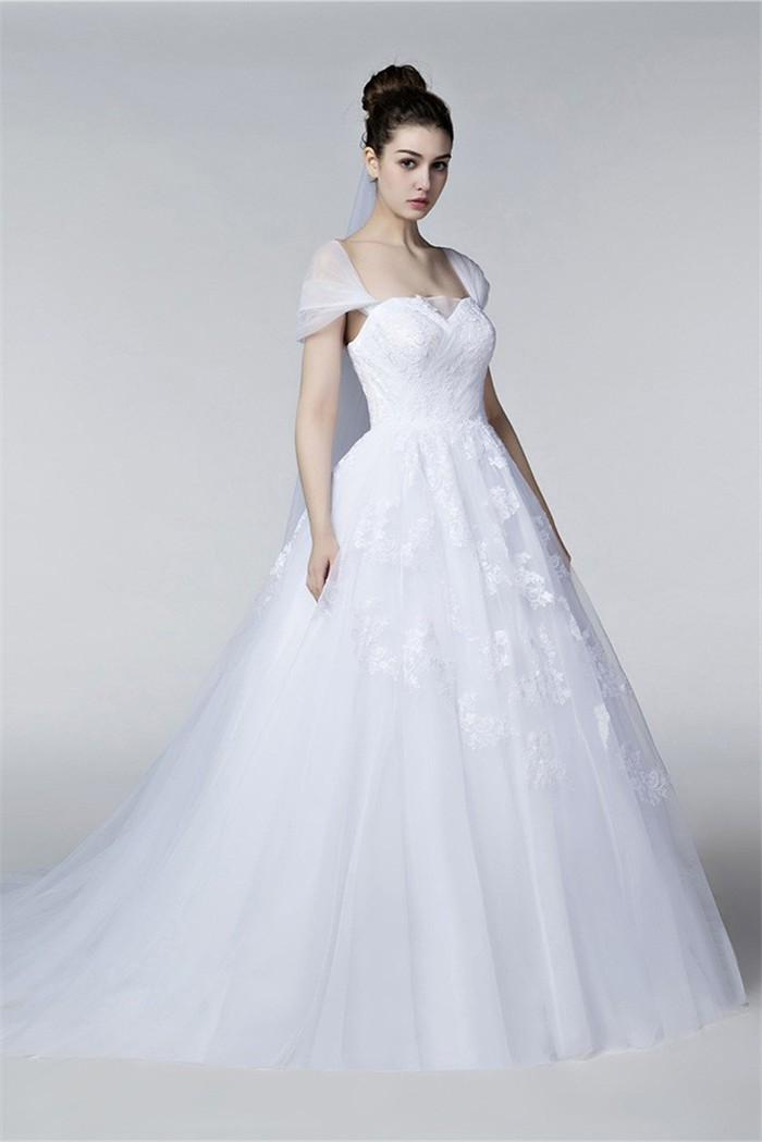 Ball Gown Cap Sleeve Lace Tulle Puffy Wedding Dress Chapel