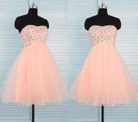 Cute Ball Strapless Short Peach Tulle Beaded Prom Dress ...