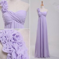 Elegant One Shoulder Empire Waist Long Lavender Chiffon