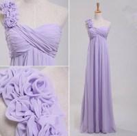Elegant One Shoulder Empire Waist Long Lavender Chiffon ...