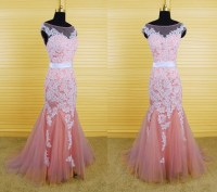 Mermaid Bateau Illusion Neckline V Back Pink Tulle White ...
