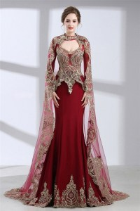 Mermaid Front Cut Out Burgundy Satin Gold Lace Evening ...