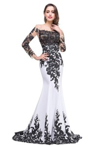 Black And White Long Sleeve Prom Dresses