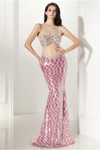 Mermaid Illusion Neckline Pink Sequin Sparkly Special ...